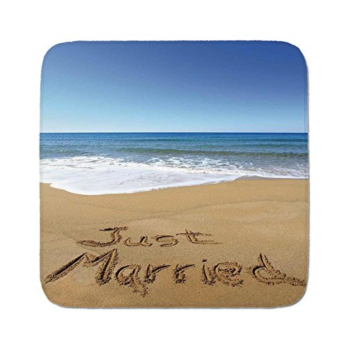 Cozy Seat Protector Pads Cushion Area Rug,Wedding Decorations,Just Married Written on Sandy Beach Ocean Waves Romantic Photo,Blue Brown White,Easy to Use on Any Surface ()