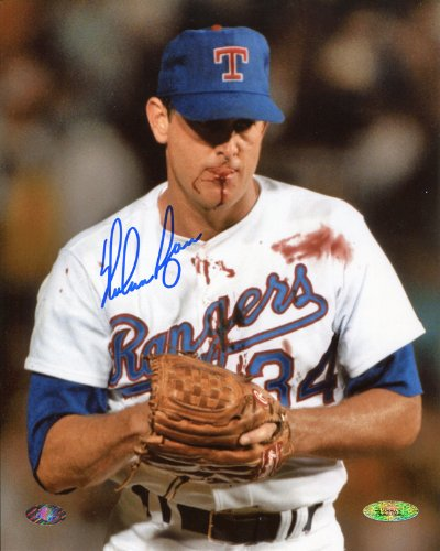 Nolan Ryan Signed Autographed Texas Rangers Bloody Lip 8x10 Photo TRISTAR COA