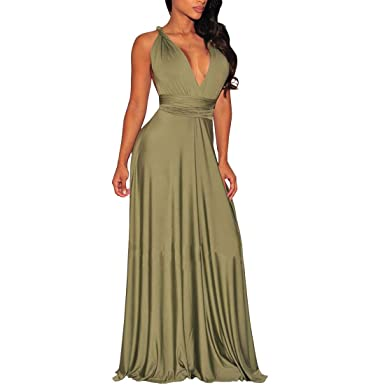 b417f15259d4 GADOTBOUTIQUE Women's Convertible Wrap Multi Way Party Long Maxi Dress  (X-Small, Army