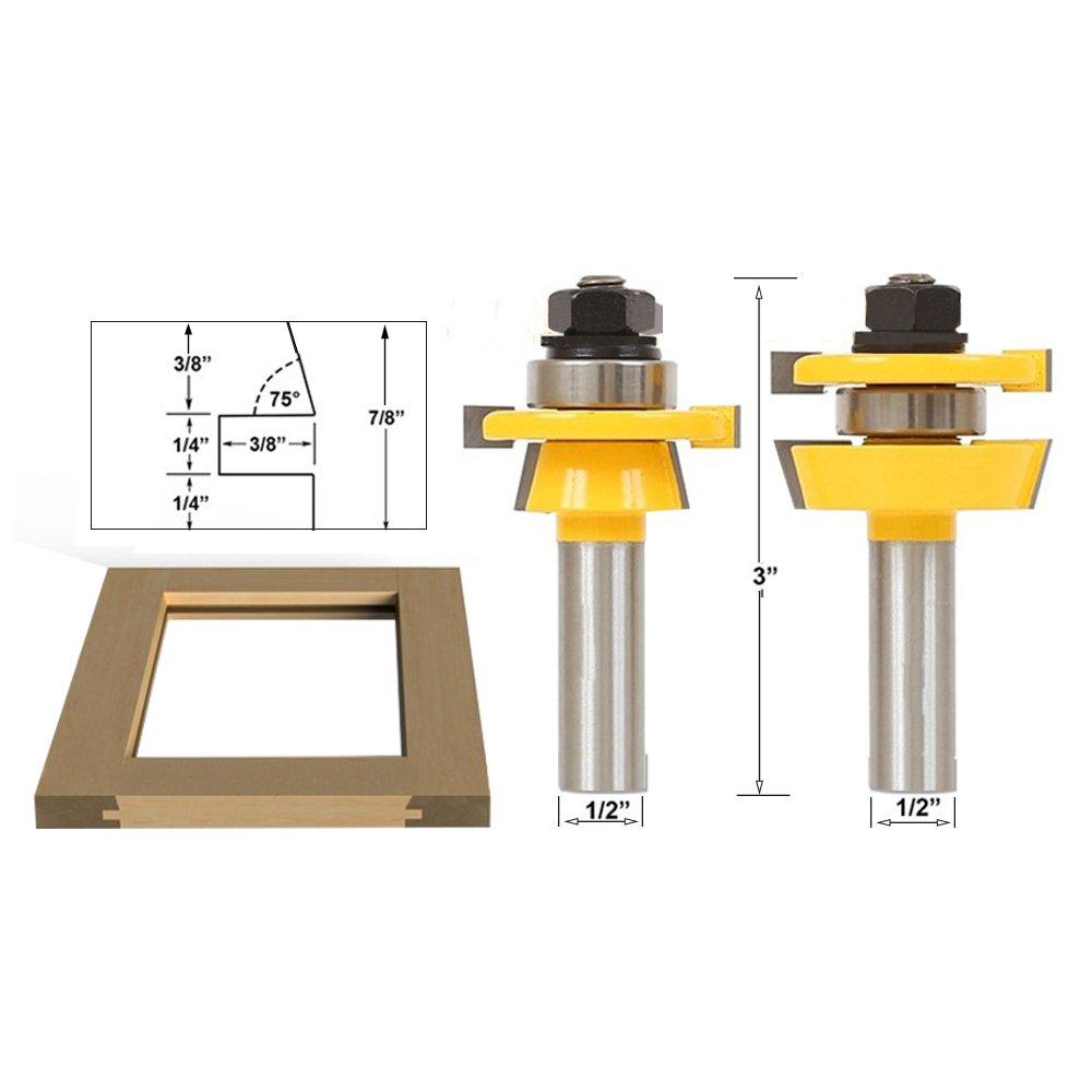 2 teilig Fräser Set Router Bit 1//2 Zoll Schaft Holzfräser Holzschneider