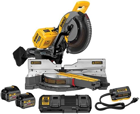 DEWALT DHS790AT2 FLEXVOLT 120V MAX Corded Cordless 12 Double Bevel Compound Sliding Miter Saw includes 2 Batteries Fast Charger