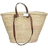 Le Papillon Vert Sasha Traditional French Style Market Shopping Basket Natural