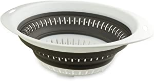 REMASIKO Collapsible Colander - BPA Free Silicone Food Strainer with Plastic Handles - Heavy Duty Foldable Kitchen Strainer for Draining Pasta, Fruit, Vegetables, Dishwasher Safe (Large)