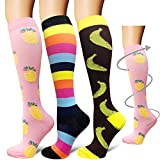 Compression Socks (3 Pairs)15-20 mmHg is Best Graduated Athletic & Medical for Men & Women, Running, Flight, Travels