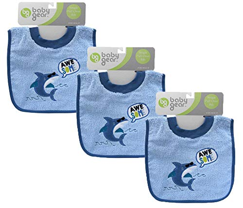 [3-Pack] Baby Gear Awesome Shark Terry Cloth Pull Over Toddler Baby Bib, Blue