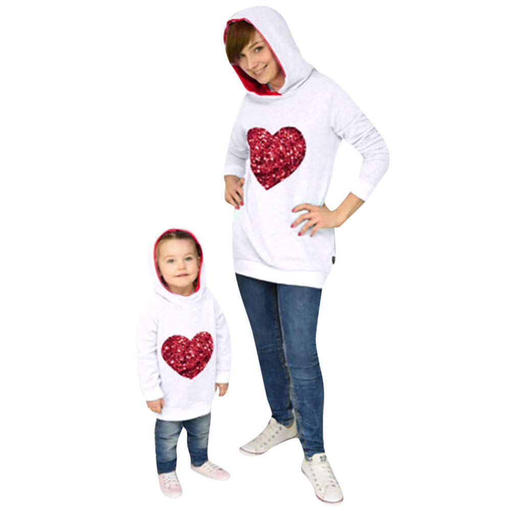 HLHN Matching Family Pajamas Sweatshirt Hooded Christmas Heart Tops T-Shirt Sleepwear Clothes PJS Parent-Child Long Sleeve Women Kids Jammies Winter HLHN (TM)