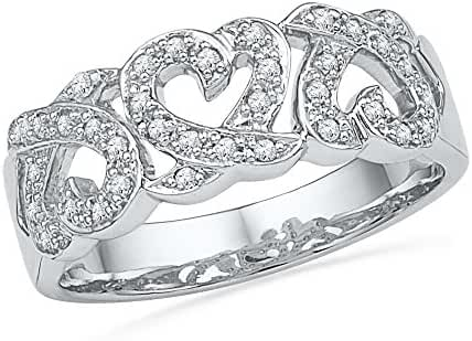 10kt White Gold Womens Round Diamond Triple Heart Band Ring 1/5 Cttw