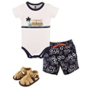 Hudson Baby Cotton Bodysuit, Bottoms and Shoe Set, Surf Car, 9-12 Months