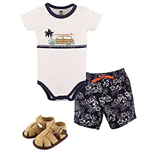 Hudson Baby Unisex Baby Cotton Bodysuit, Shorts and Shoe Set