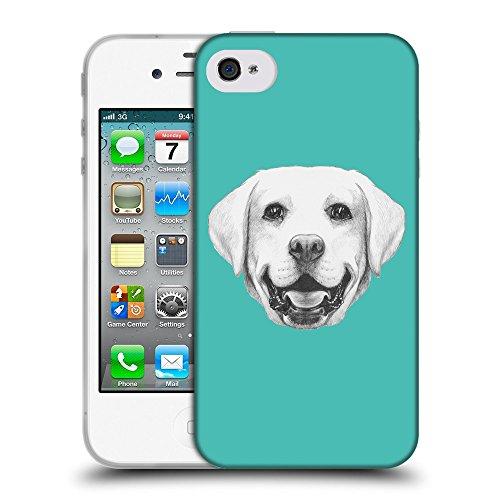 GoGoMobile Coque de Protection TPU Silicone Case pour // Q05370634 Portrait labrador Turquoise // Apple iPhone 4 4S 4G