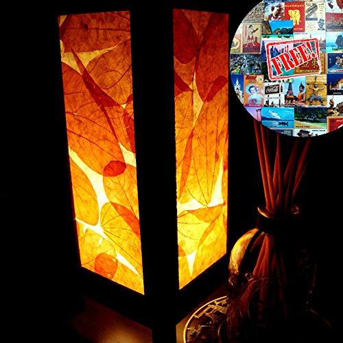 Orange Real Nature Leaves Handmade Asian Oriental Wood Light Night Lamp Shade Table Desk Art Gift Home Vintage Bedroom Bedside Garden Living Room; Fre…