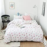 Duvet Cover Set Twin Size 3 Piece (1pc Duvet Cover + 1pc Flat Sheet + 1pc Pillowsham) by WarmGo, 100% Cotton Bedding Set White with Strawberry Pattern - Not Include Comforter