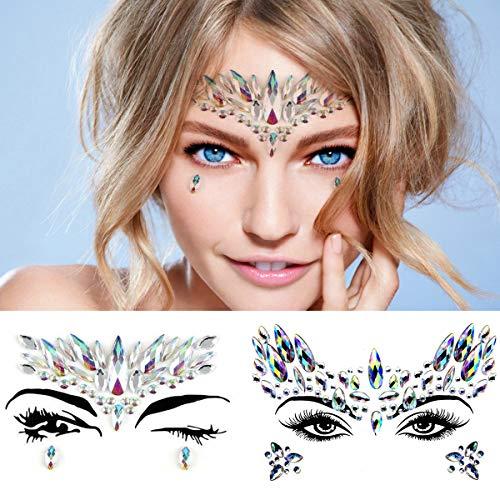 Leoars Crystals Face Jewels Sticker, Mermaid Face Gems Tattoo, Bindi Eye Face Gem Stick on, Pride Tribe Rainbow Body Jewelry Holographic Eyebrow Gems Glitter for Festival Rave, 2-Pack, Set 2 (Stick On Eye Gems)