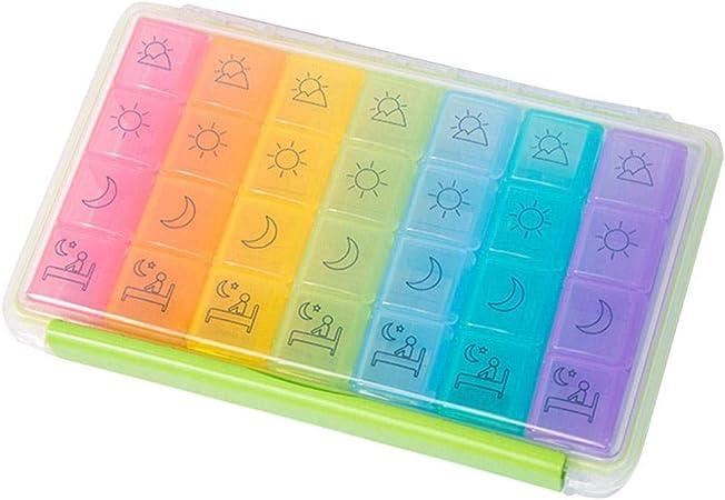 Wetour - Caja para Pastillas (28 Compartimentos/7 días, no Divisible): Amazon.es: Hogar