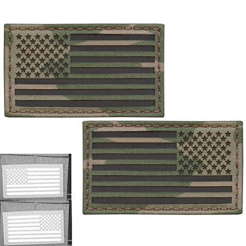 Bundle Set of 2 Multicam Infrared IR USA American Flags Forward and Reversed 3.5x2 Morale Fastener Patches