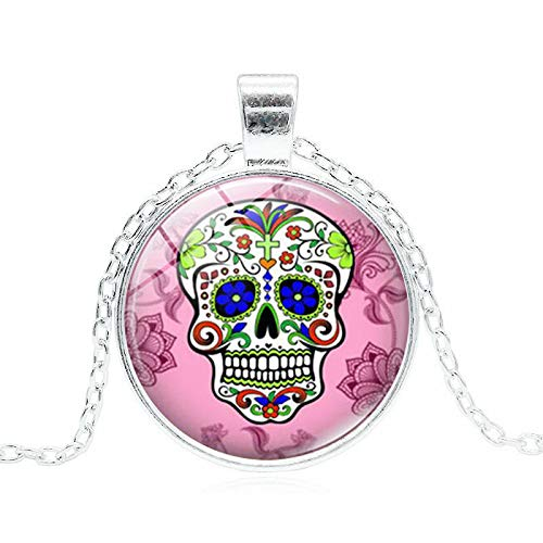GYXYZB Mexican Candy Skull Time Gemstone Pendant Necklace Short Necklace