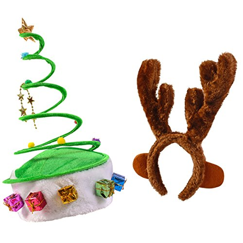 [Springy Christmas Hat - Reindeer Antlers Headband - by Funny Party Hats] (Crazy Christmas Hats)