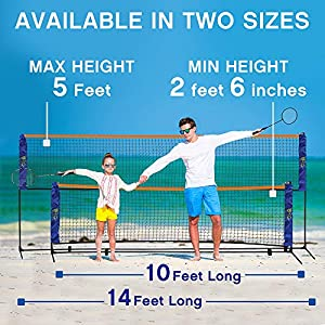 Street Tennis Club Portable, Light, Fast Set Up, Adjustable Height Badminton, Volleyball, Tennis and Soccer Tennis Net Stand -Available in Two Sizez 10 Feet and 14 Feet Long. from Street Tennis Club