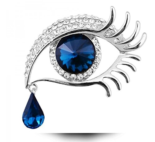 BIBITIME Angel Tears Brooch Rhinestone Big Eyes Alloy Long Eyelashes Corsage Breastpin (87-Ink Blue) (Rhinestone Eyes Brooch)