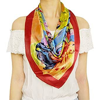 TONY & CANDICE Women's 100% Silk Scarf, Pattern Printed Square Scarf, 33X33 Inches ('Colorful House' Oil Painting Print)