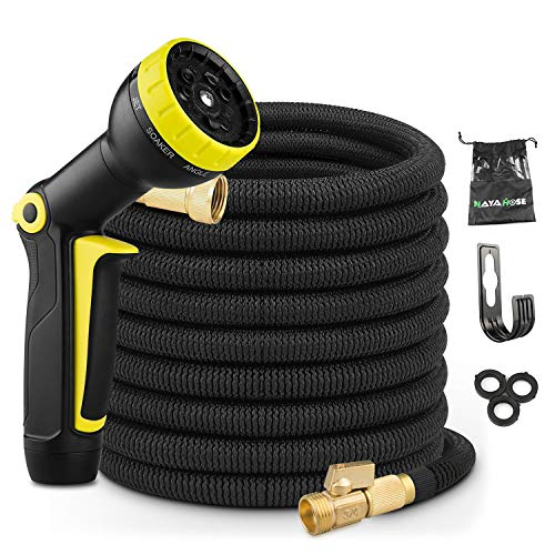 Expandable 50ft Garden Hose Expanding Water Hose, Flexible Hoses No-Kink with 3/4 Inch 100% Solid Brass Fittings 9 Function Hose Nozzle, 50′ Lightweight Gardening Hose Outdoor Yard Cloth Hose Black