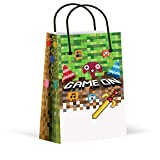 LARZN Premium Pixel Party Bags, Video Game,Treat Bags,Gamer Party, New, Gift Bags,Goody Bags, Pixel Party Favors, Pixel Party Supplies, Gamer Party Decorations, 12 Pack