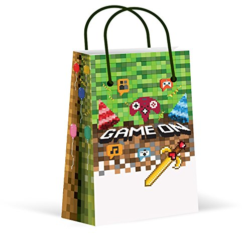 LARZN Premium Pixel Party Bags, Video Game,Treat Bags,Gamer Party, New, Gift Bags,Goody Bags, Pixel Party Favors, Pixel Party Supplies, Gamer Party Decorations, 12 Pack by LARZN