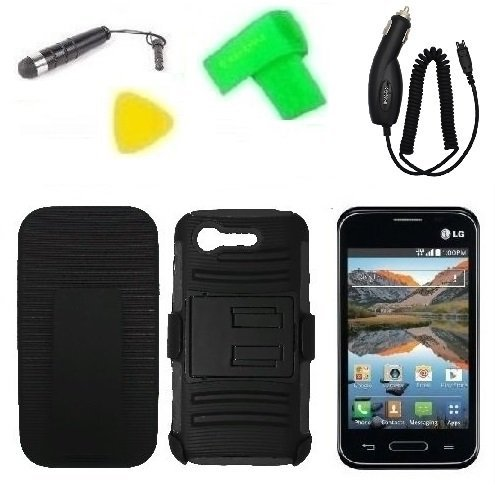 Belt Clip Holster w Kickstand Heavy Duty Hybrid Phone Case Cover Cell Phone Accessory + Car Charger +