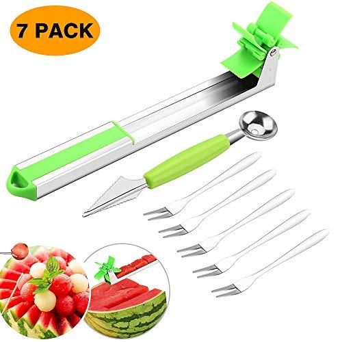 - Aitsite Watermelon Slicer Cutter Stainless Steel Watermelon Windmill Cutter Fruit Melon Knife Slicer Corer Tools with Melon Baller Scoop and Fork Kitchen Gadgets