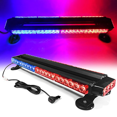 "26"" 54 LED 7 Flash Mode Traffic Advisor Double Side Emergency Warning Security Vehicle Roof Top Strobe Light Bar with Magnetic Base for Undercover or Tow Truck Construction (Red/Blue)"