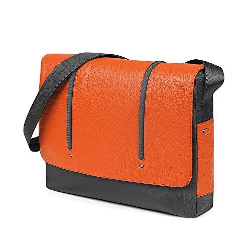 """Giorgio Fedon 15"""" bolsa de ordenador portátil MacBook mensajero (negro y gris) gris y naranja"""