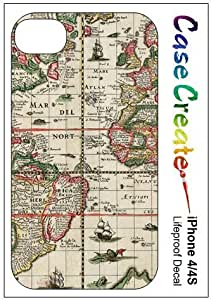 Antique Old World Shipping Map Decorative Sticker Decal for your iPhone 4 4S Lifeproof Case