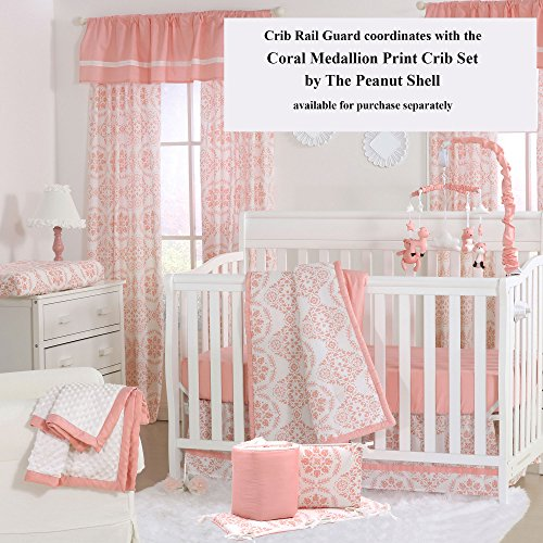 Coral Pink Medallion 100% Cotton Padded Crib Rail Guard by The Peanut Shell by The Peanut Shell (Image #2)