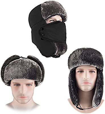 3dcc167cf HOMEYA Winter Trapper Hat, Men Ushanka Russian Bomber Hats with Ear Flaps &  Chin Strap & Faux Fur Detachable Windproof Mask Trooper Hat Outdoor Pilot  ...
