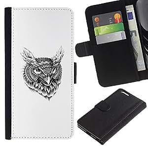 KLONGSHOP // Tirón de la caja Cartera de cuero con ranuras para tarjetas - Modelo tribal del tatuaje del búho - Apple Iphone 6 PLUS 5.5 //