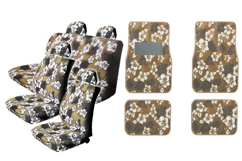15pc TAN Hawaiian Hibiscus Seat Covers Combo with Front and Rear Carpeted Floor Mats Front Low Back Seat Covers with Head Rest Covers Bench Rear Cover Steering Wheel Cover and a Set of Shoulder Pads