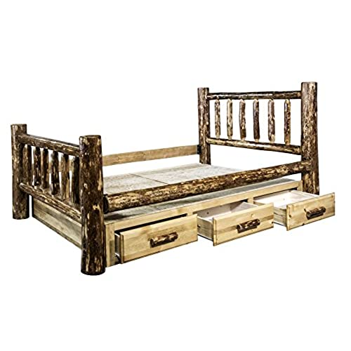 montana woodworks glacier country collection queen bed with storage - Dresser Bed Frame