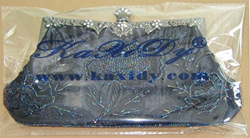 Pochette Sacs Bleu Noir Sac Soirée Femmes Partie Mariage KAXIDY Sac à de Rétro Satin Main 06ZTOq