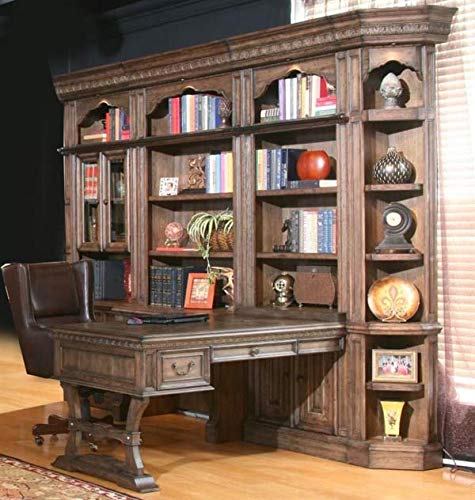 Parker House - Aria 6 Piece Desk File Bookcase Library Wall in Antique Vintage Smoked Pecan Finish - ()