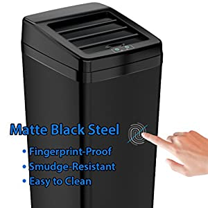 iTouchless Sliding Lid Automatic Touchless Sensor Trash Can – 14 Gallon / 52 Liter – Black – Kitchen Trash Can