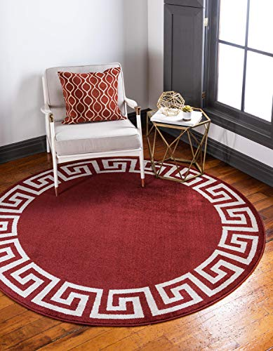 Unique Loom Athens Collection Geometric Casual Modern Border Terracotta Round Rug (8' 0 x 8' 0)