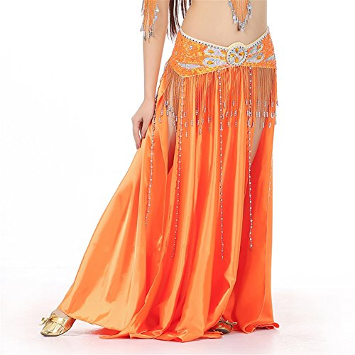 [Belly Dance Skirt Dual Split Satin Skirt Dancing Dress Belly Dance Costume orange] (Dance Fans Costumes Accessories)