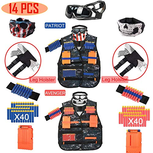 i.VALUX Tactical Vest Kit for Nerf Guns N-Strike Elite Series, Vest Tactical Kids [2 Pack] with Top Goggles & Mask, Refill Darts, Tactical Holster, Reload Clips, Wrist Band, Nerf Guns Kits for Boys