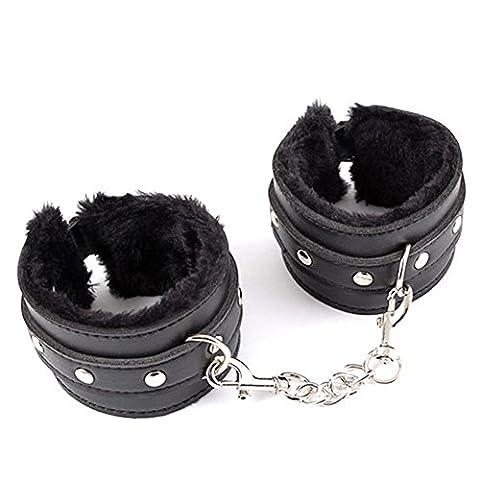 Soft Cuffs Steel Sex Handcuffs Furry Fuzzy Toy Handcuffs Novelty Gift Black (Sex Toys)