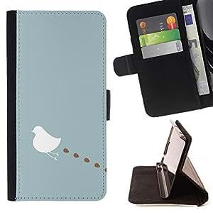 For HTC One A9 Case , Arte Minimalista Azul Pastel Blanca- la tarjeta de Crédito Slots PU Funda de cuero Monedero caso cubierta de piel