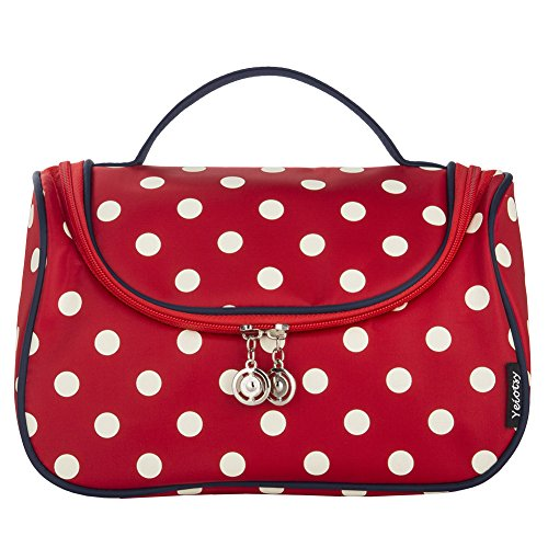 Red Cosmetic Bag, Yeiotsy Stylish Polka Dots Travel Toiletry Bag Makeup Organizer Zippers Closure (Classic Red) by Yeiotsy (Image #3)