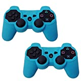 HDE 2 Pack Protective Silicone Gel Cover Skin for Sony Playstation 3 PS3 Gaming Controllers (Sky Blue + Sky Blue)