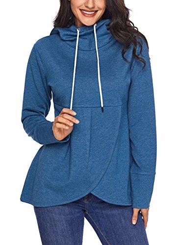 HOTAPEI Women's Long Sleeve Hooded Asymmetric Hem Wrap Pullover Hoodie Sweatshirt Outwear T Shirt Tops Blouse Blue Medium -