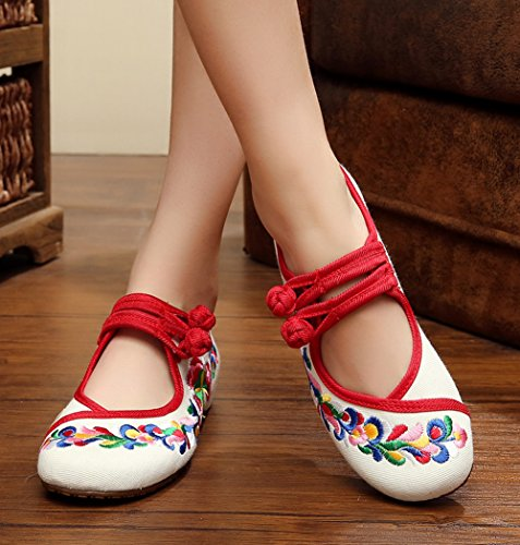 White Shoes Frog Jane AvaCostume Chinese Mary Traditional Womens Embroidery Dancing Flats wnx1xTvfq