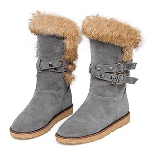 CHFSO Womens Stylish Faux Fur Lined Waterproof Rivet Pull On Mid Calf Low Heel Platform Warm Winter Snow Boots Gray SBIxO7